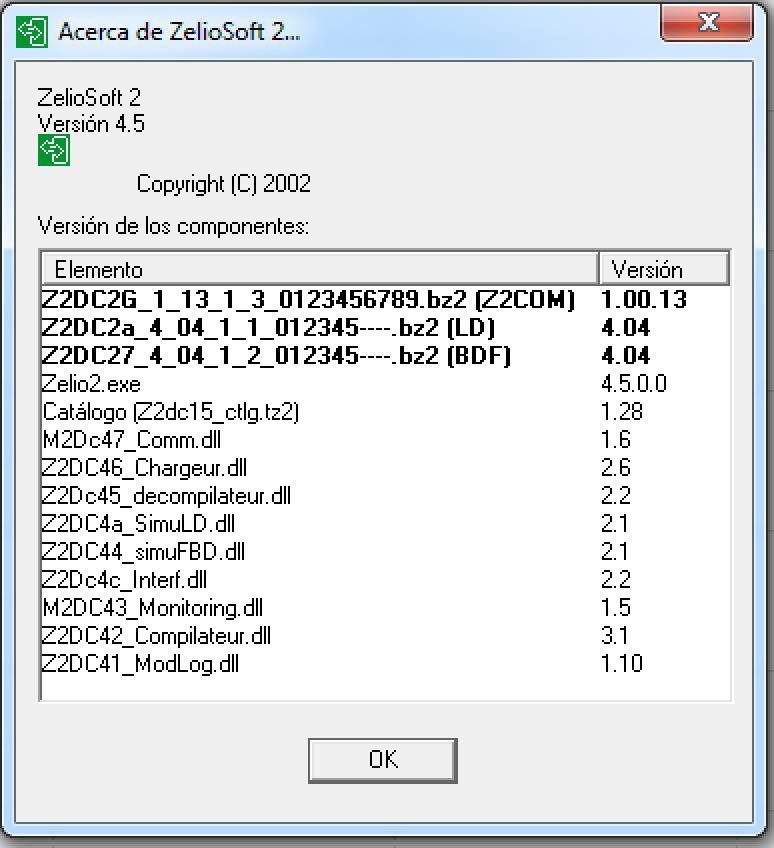 Versión del Zelio Soft