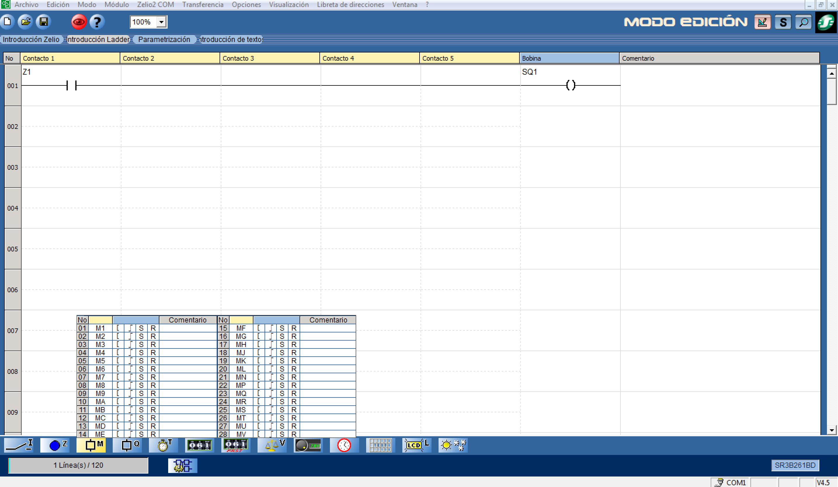 Opciones disponibles en zelio soft2 en lenguaje ladder