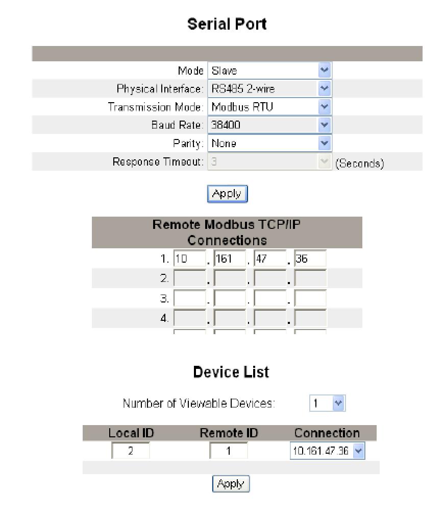 Configuración de Modbus TCP y Modbus RTU.