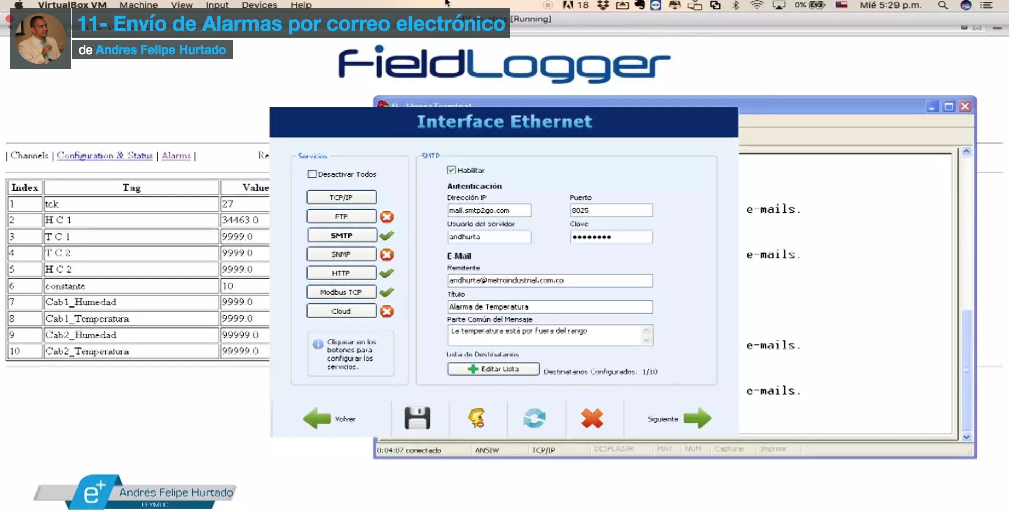 Curso de Fieldlogger- Envío de alarmas por correo electrónico