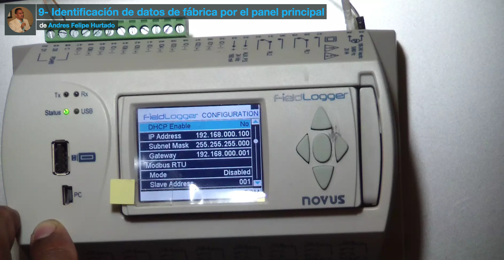 Curso de Filedlogger-revisión de datos de fábrica por panel frontal